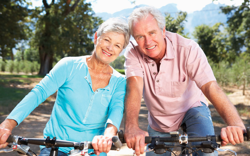 older couple going on a bike ride